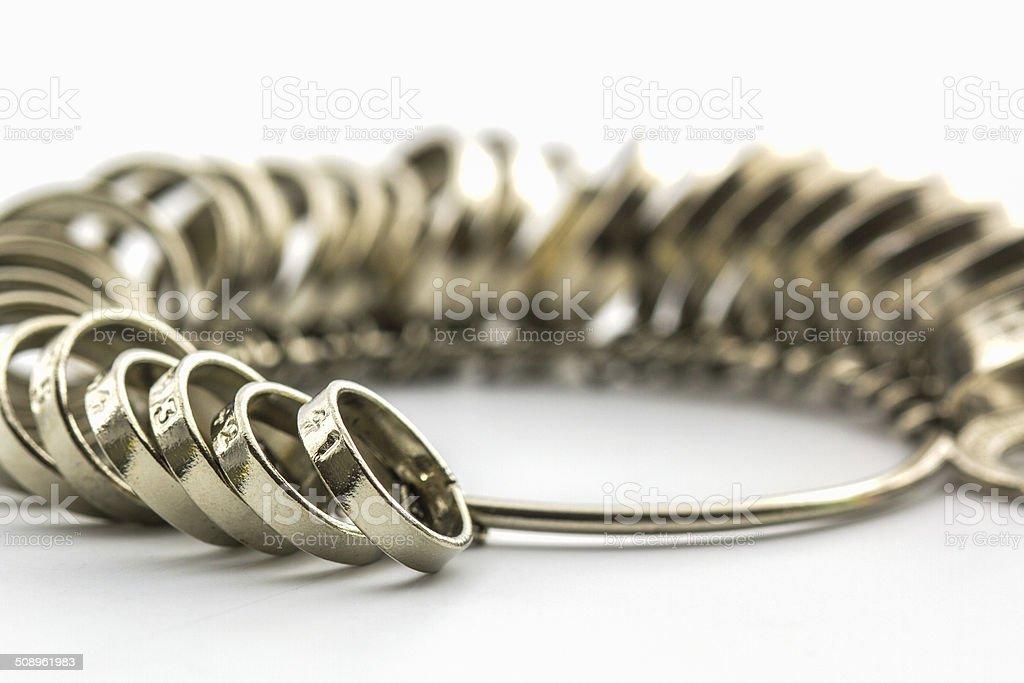 Chrome Jeweler finger sizing tools. stock photo