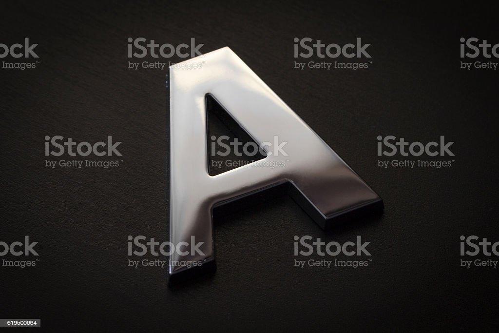 Chrome letter A closeup stock photo
