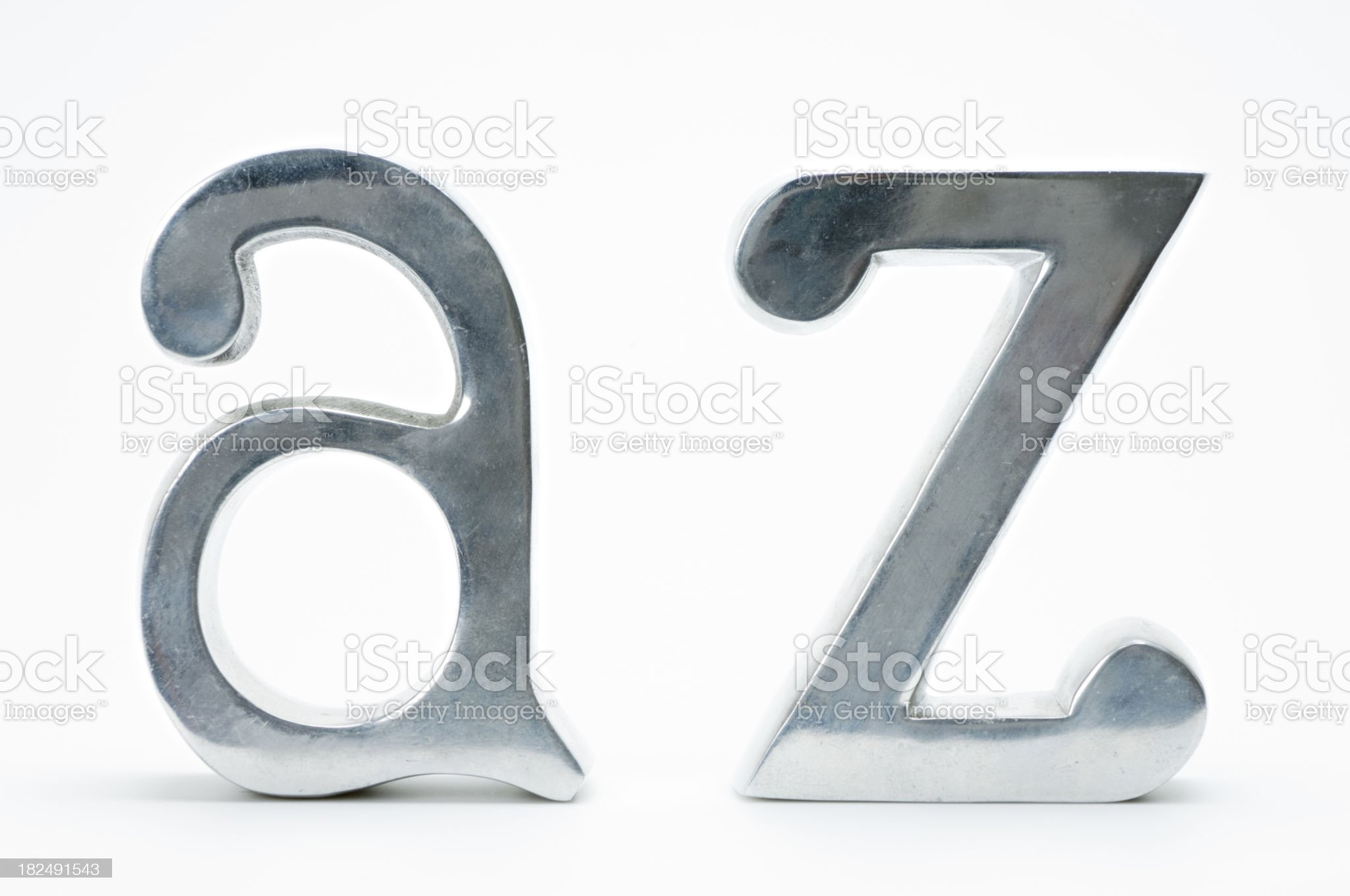 Chrome Letters A and Z  On White Background royalty-free stock photo