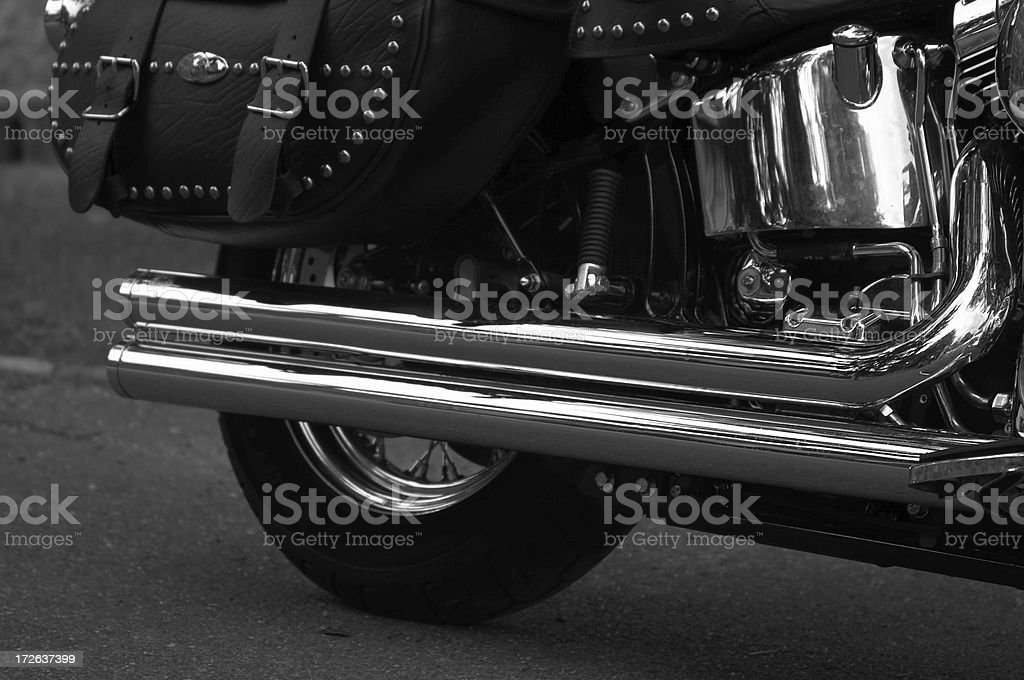 Chrome Motorcycle Closeup in B&W royalty-free stock photo