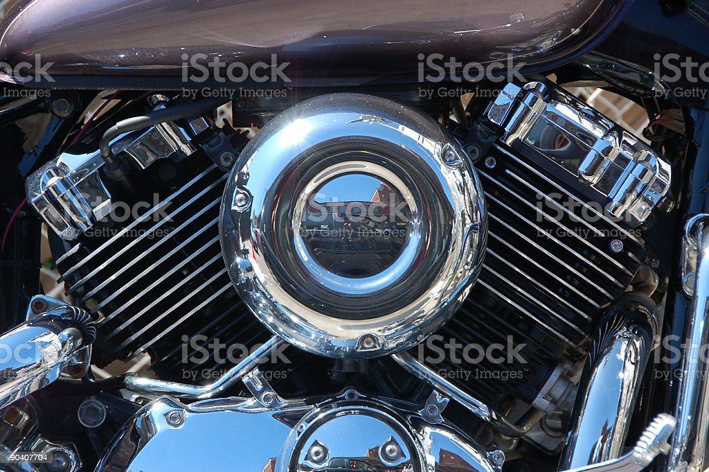 Chrome motorcycle engine. royalty-free stock photo