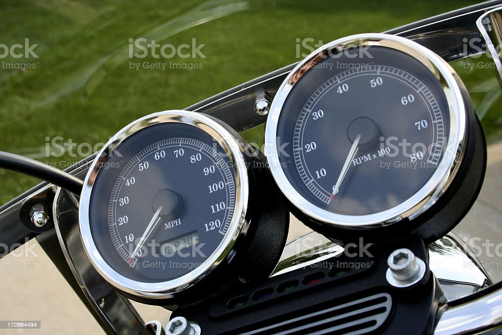 Chrome Motorcycle Gauges royalty-free stock photo