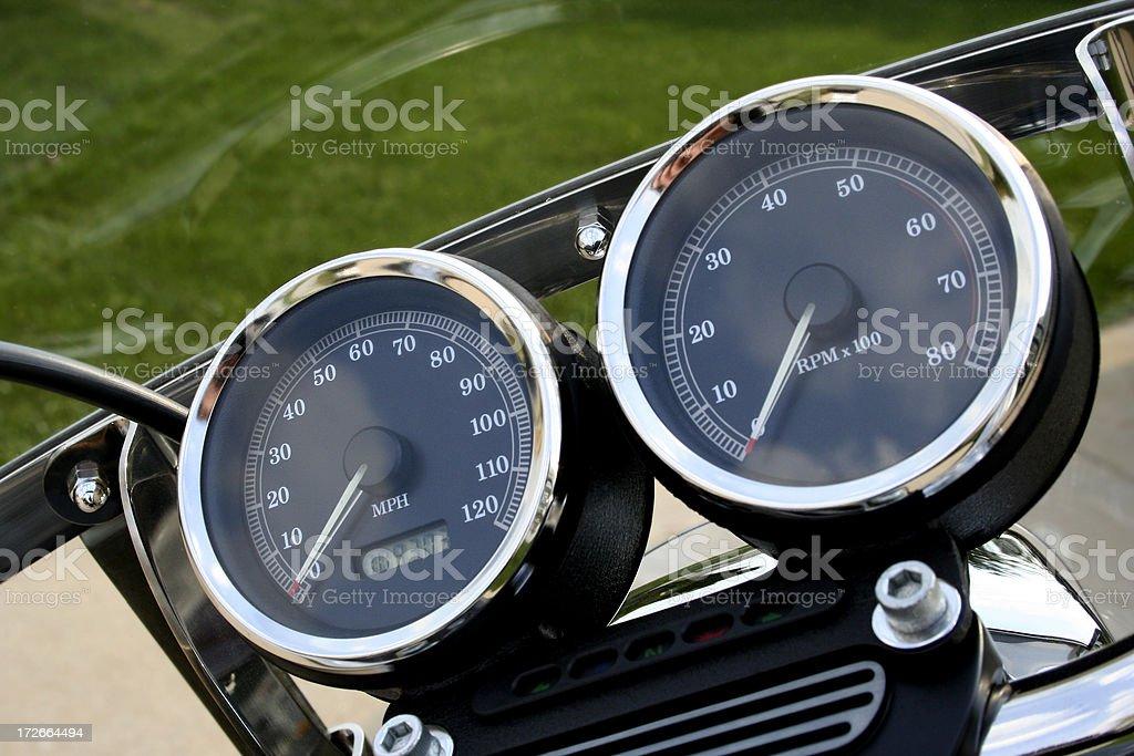 Chrome Motorcycle Gauges stock photo