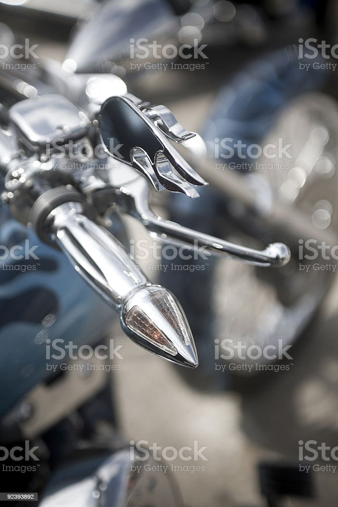 Chrome Motorcycle Throttle and Mirror stock photo