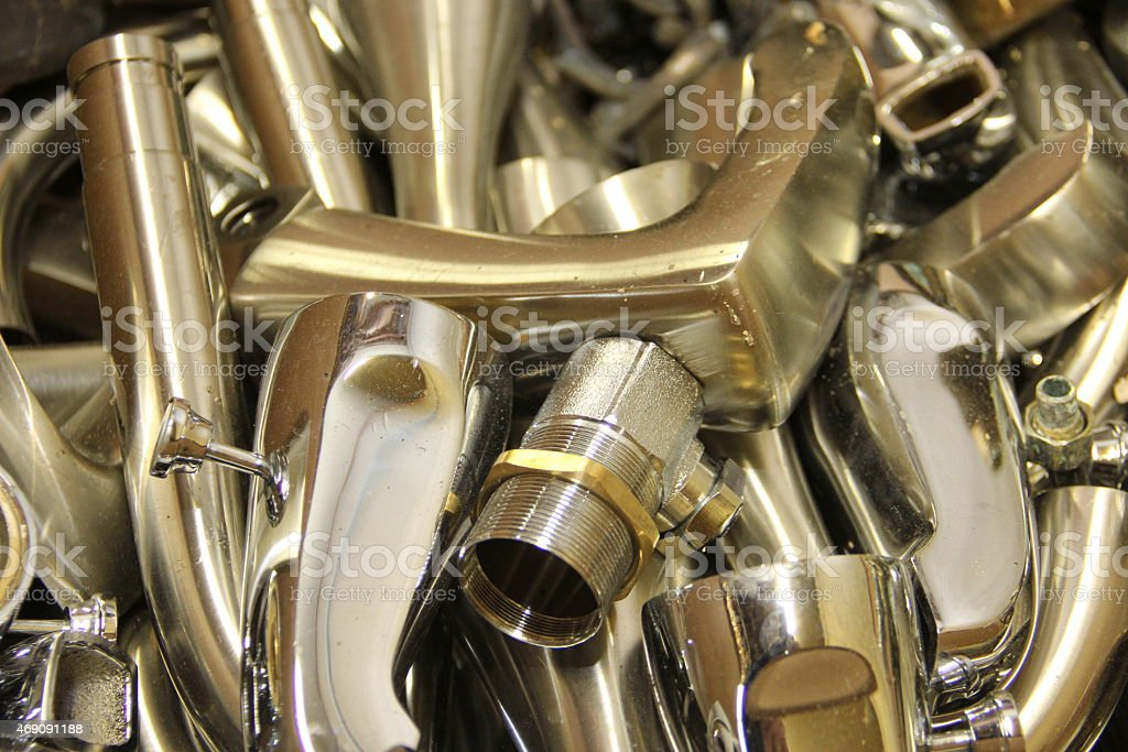 Chrome plated Brass stock photo