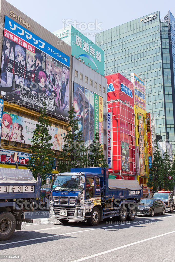 Chrome Plated Dump Truck in Akihabara Traffic stock photo