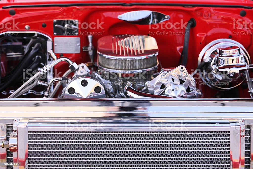 Chrome Radiator Grille Muscle Car Engine stock photo