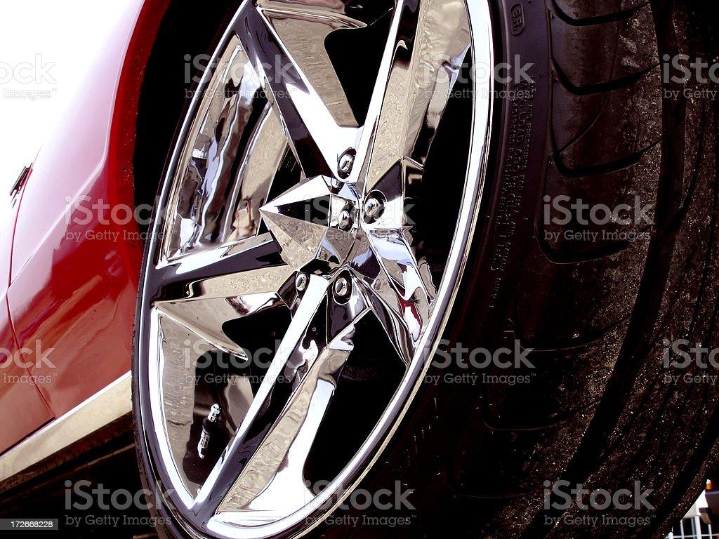 Chrome Rim on classic car stock photo