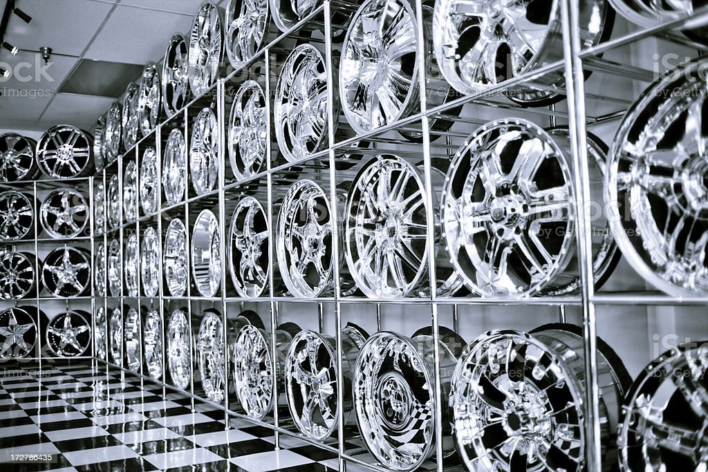 chrome rim shop royalty-free stock photo