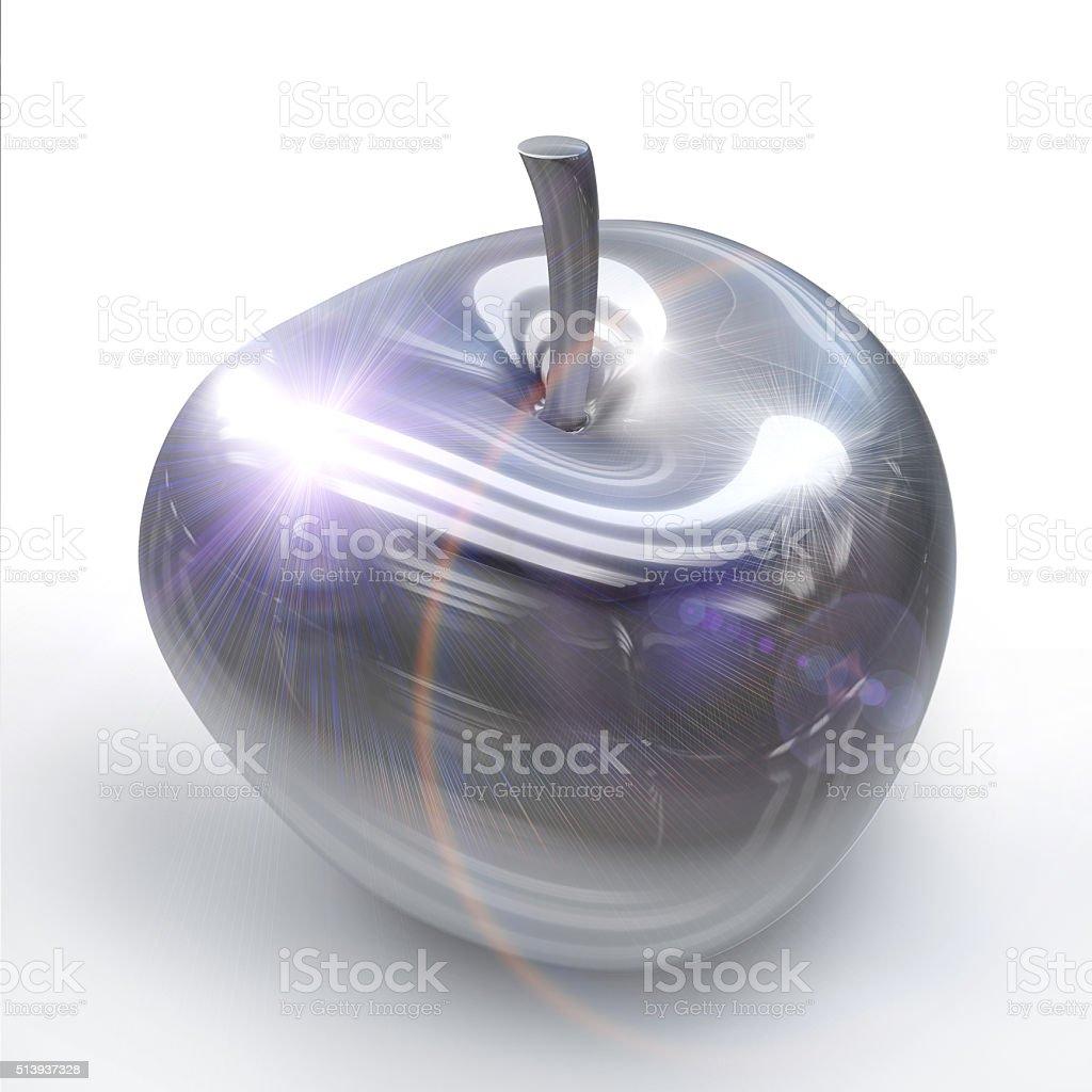 Chrome Silver apple or cherry fruit stock photo