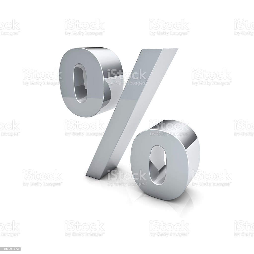 3D chrome silver percentage symbol on white background stock photo