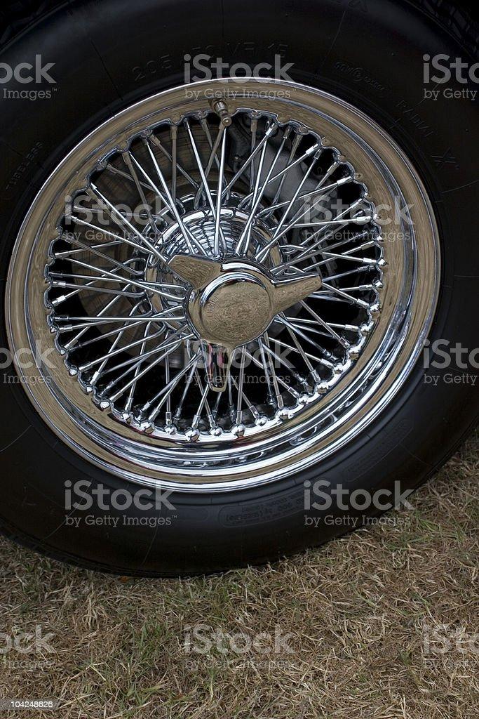 Chrome spoked wheel stock photo