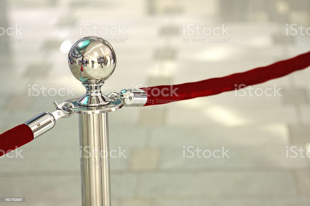 Chrome stanchion post stock photo