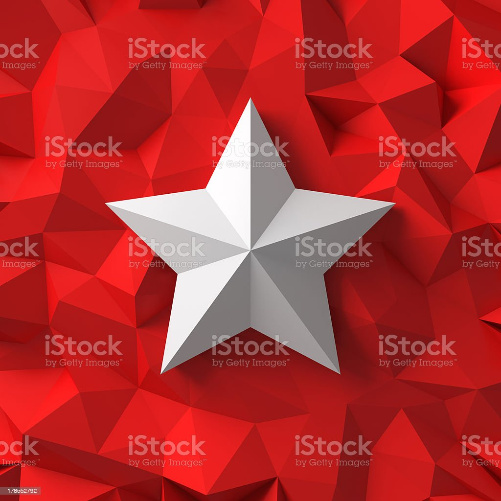 Chrome star on the red royalty-free stock photo