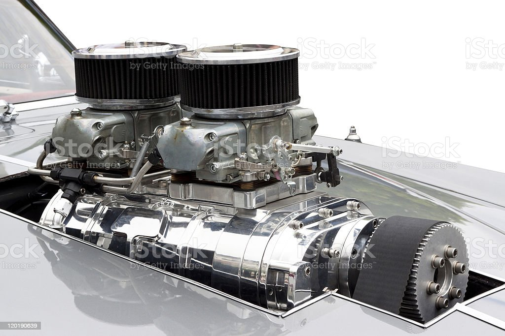 Chrome Supercharger car engine Hot Rod, copy space stock photo
