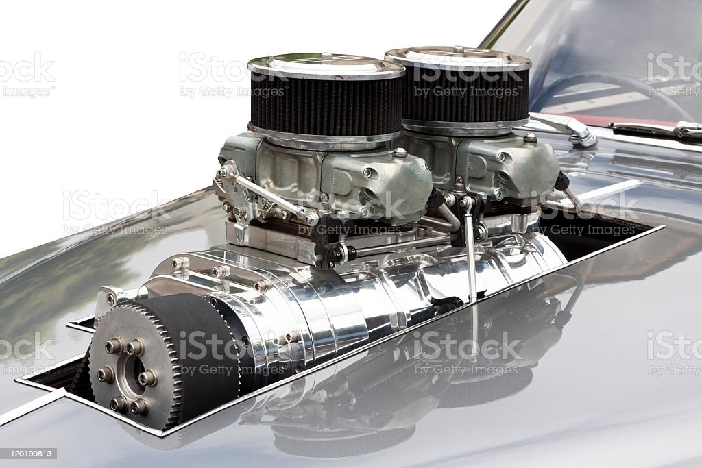 Chrome supercharger car engine Hot Rod white background copy space royalty-free stock photo