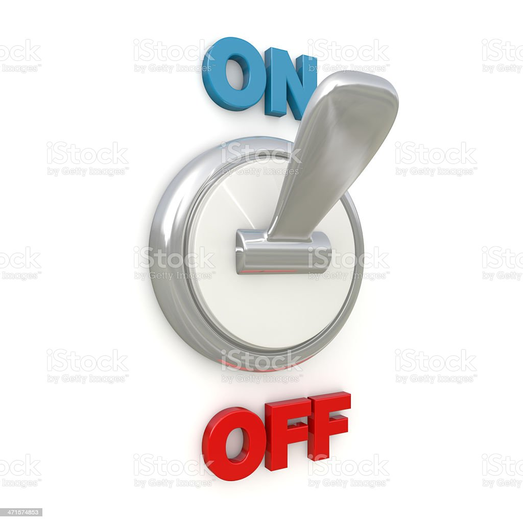 chrome switch flipped in the on position royalty-free stock photo
