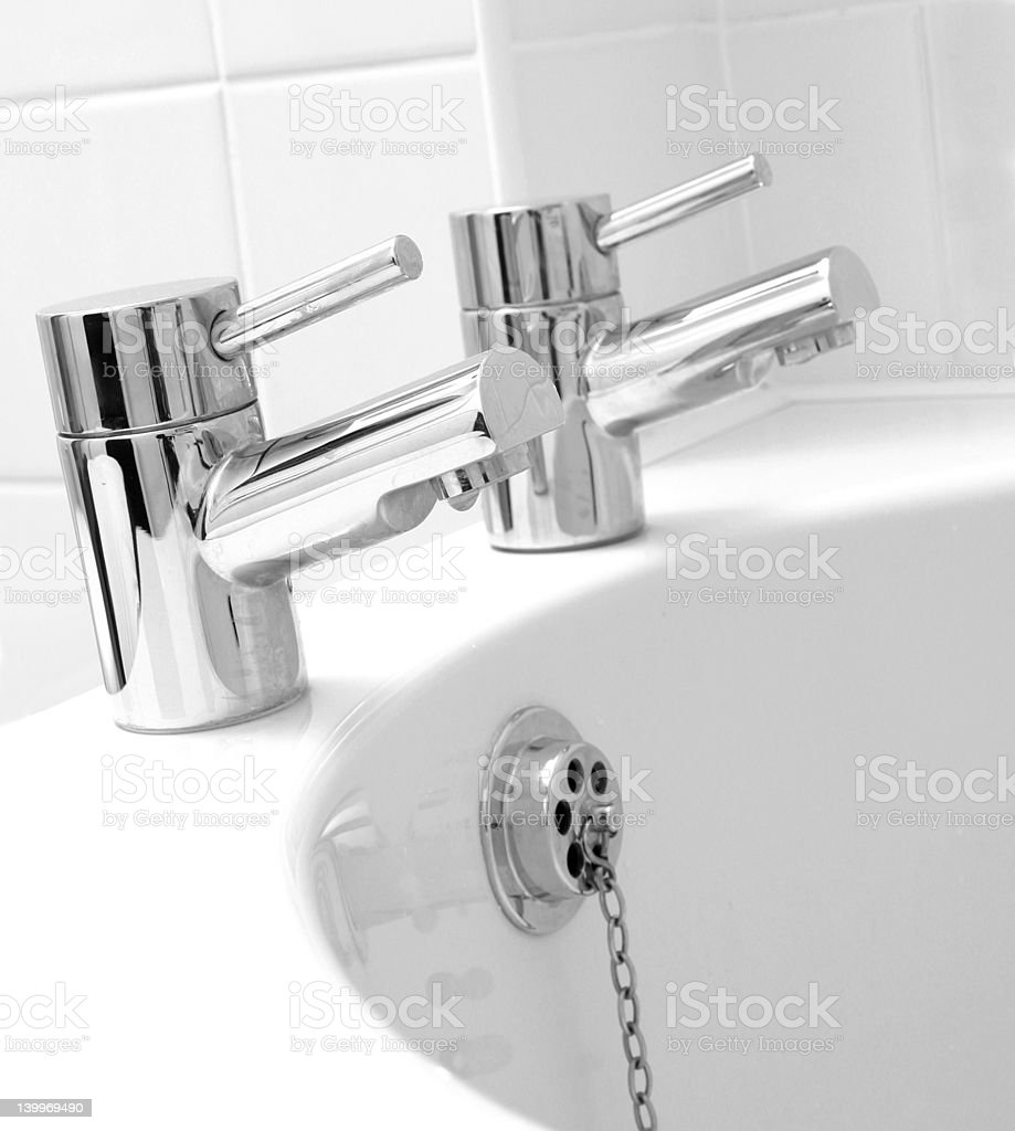 Chrome taps & waste royalty-free stock photo