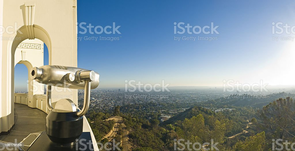 Chrome Telescope Looking Out Over Hollywood Hills stock photo