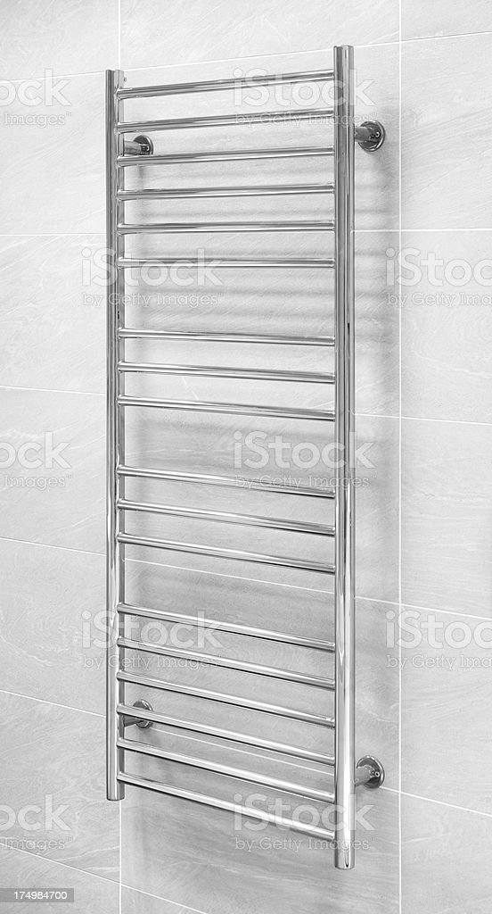 chrome towel rail stock photo