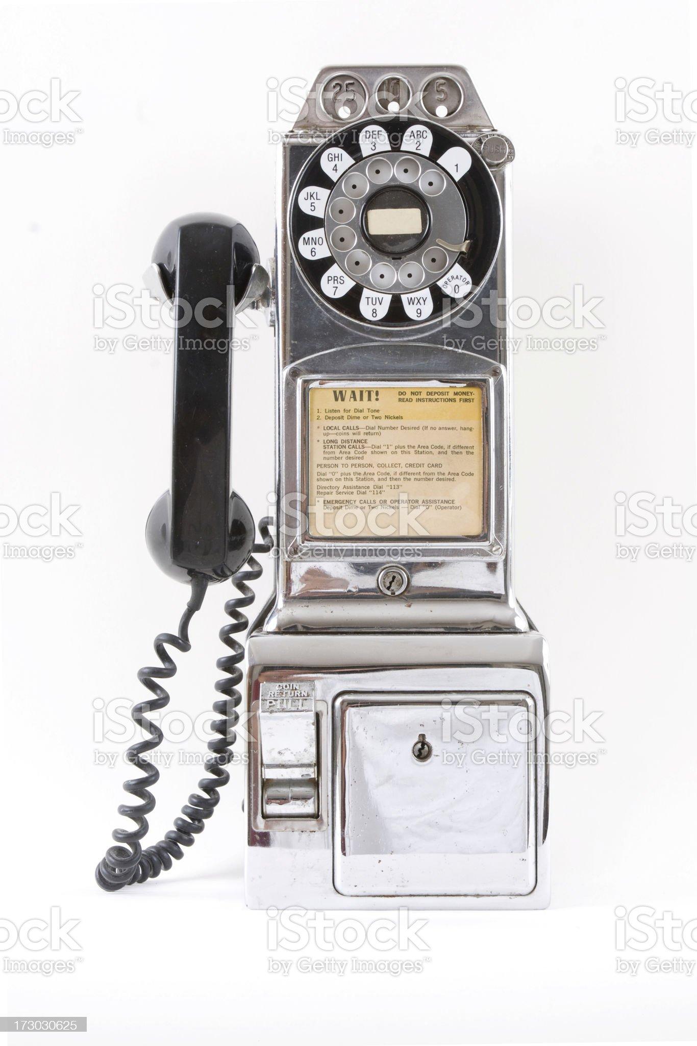 Chrome Vintage Pay phone royalty-free stock photo