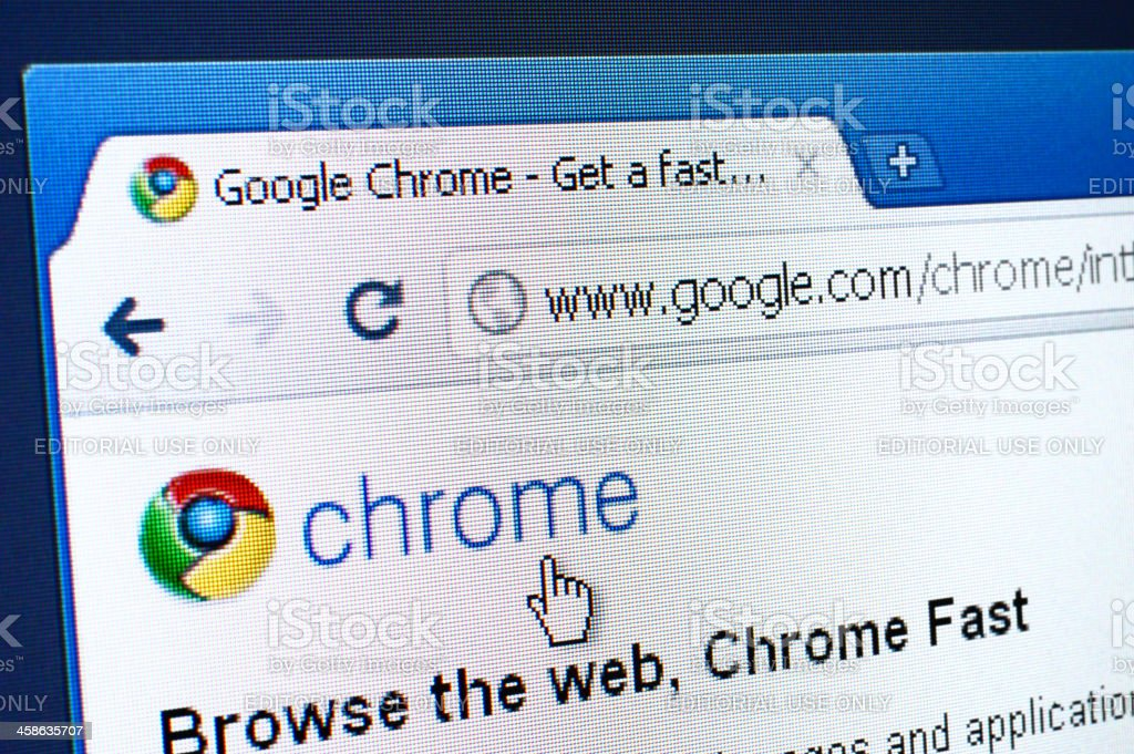 Chrome webpage on the browser stock photo