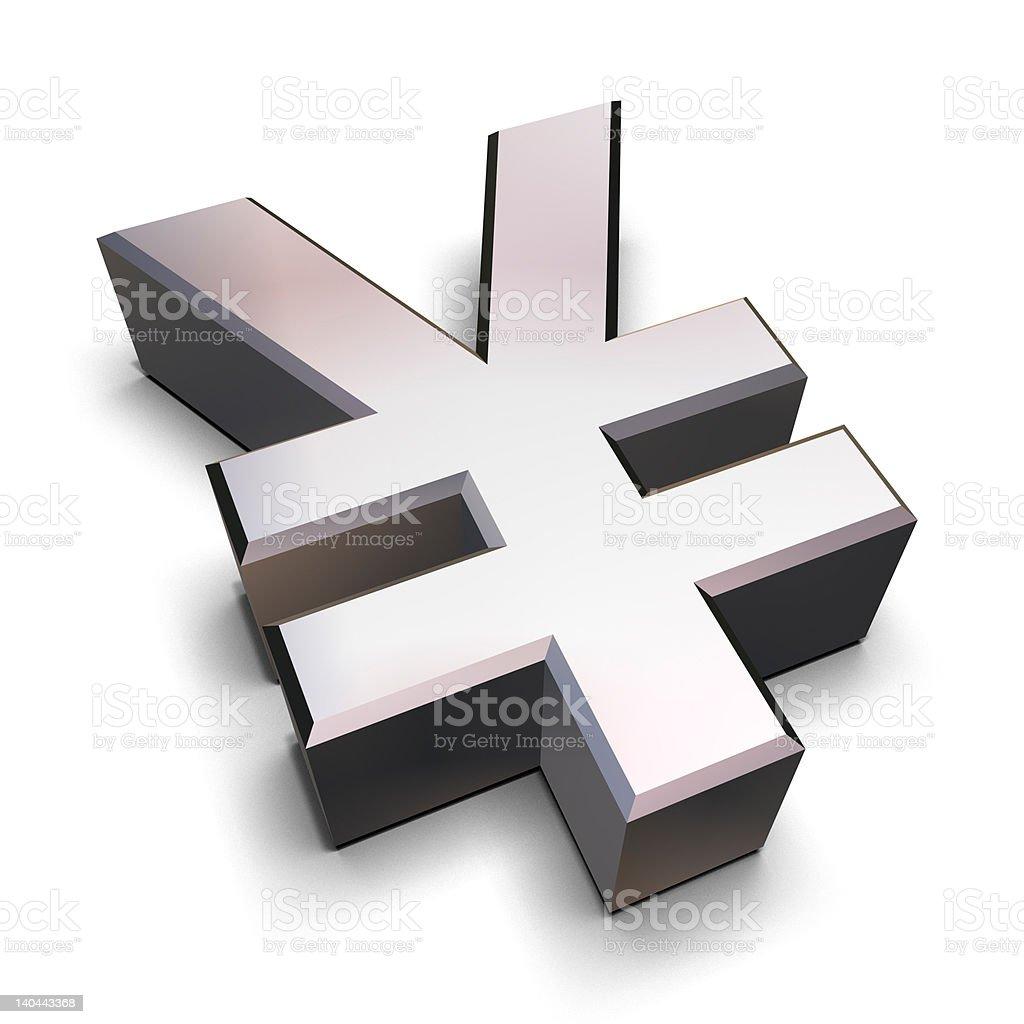 Chrome Yen symbol stock photo