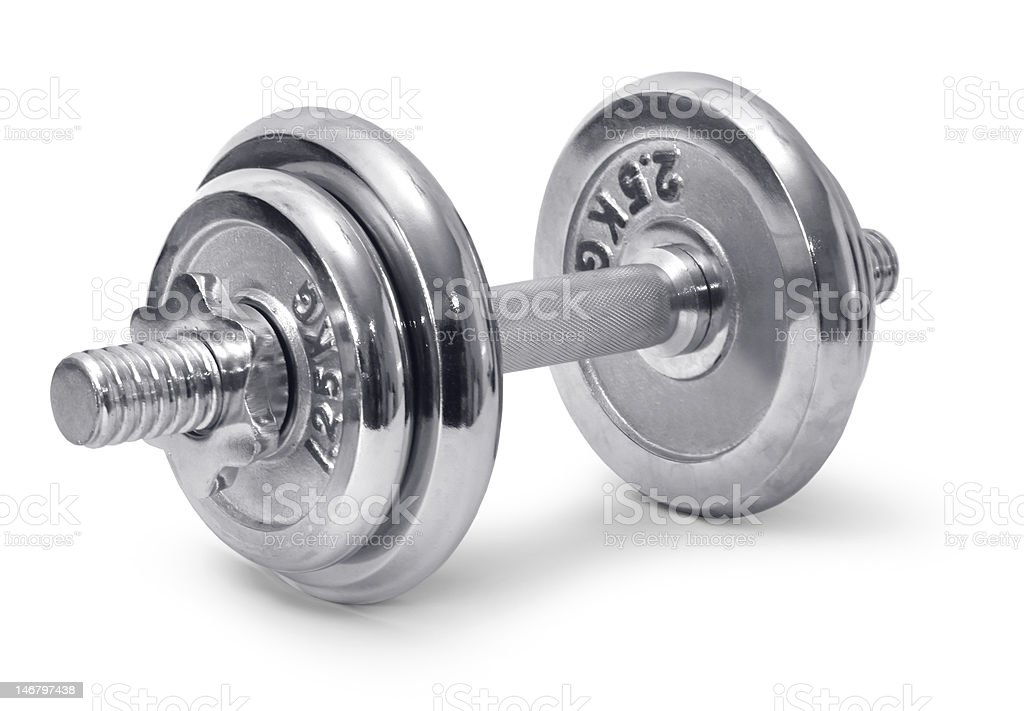 Chromed dumbbell stock photo