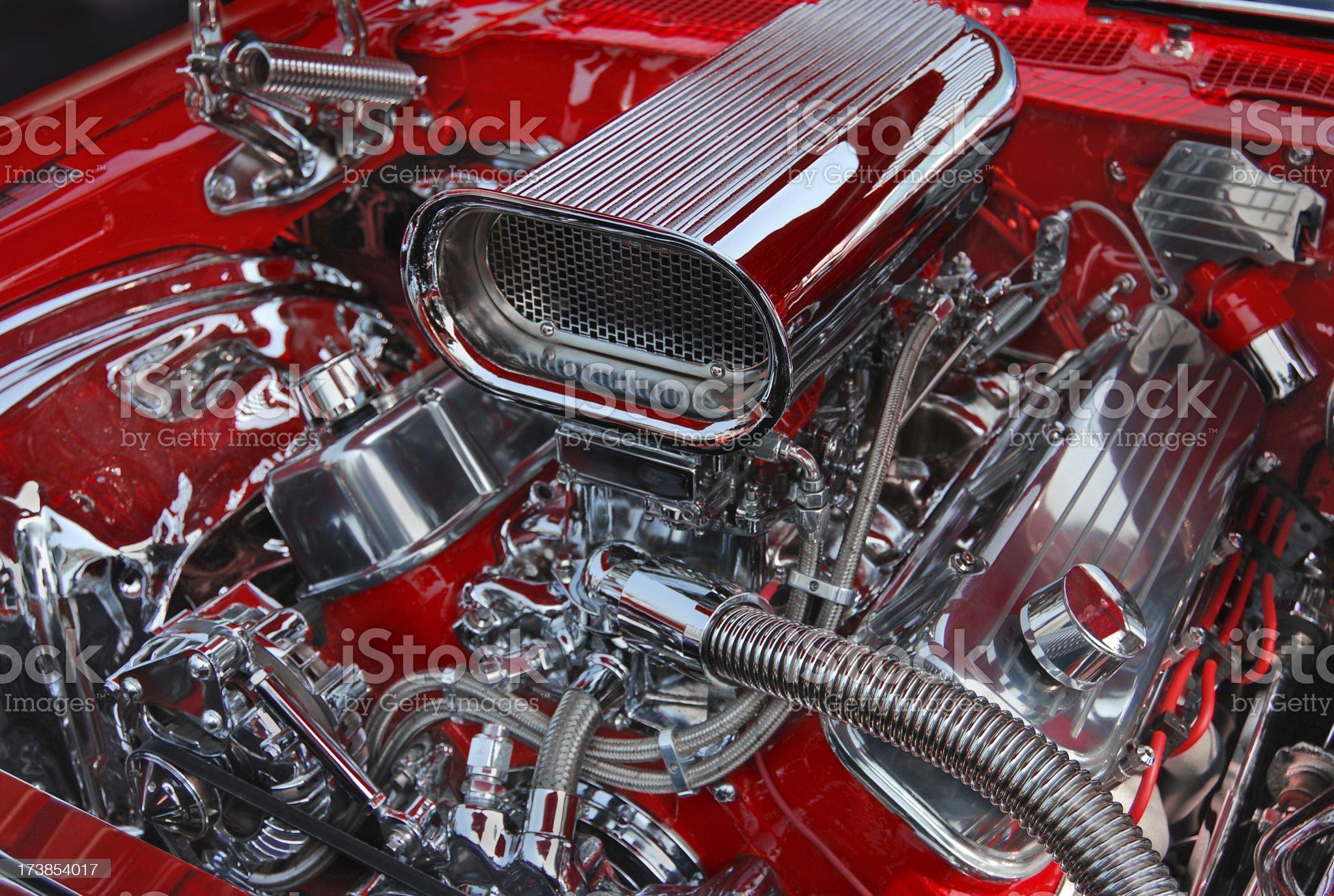 Chromed V8 Motor royalty-free stock photo