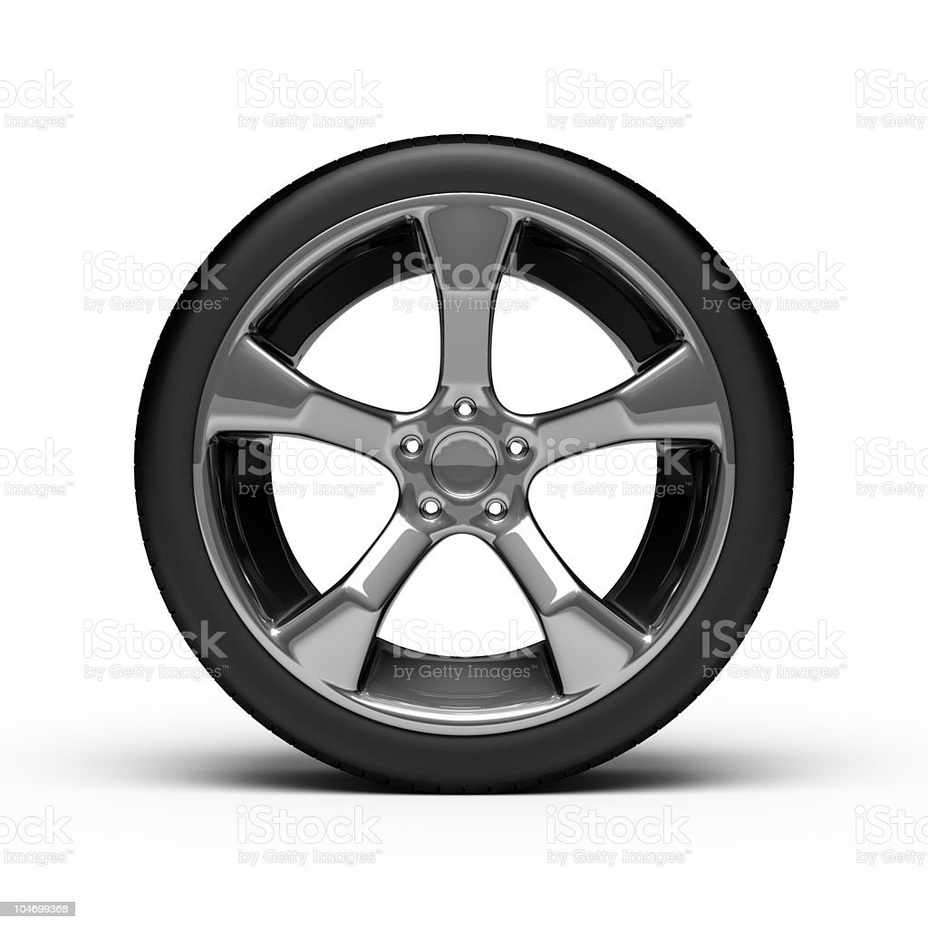 Chromed wheel with tires royalty-free stock photo
