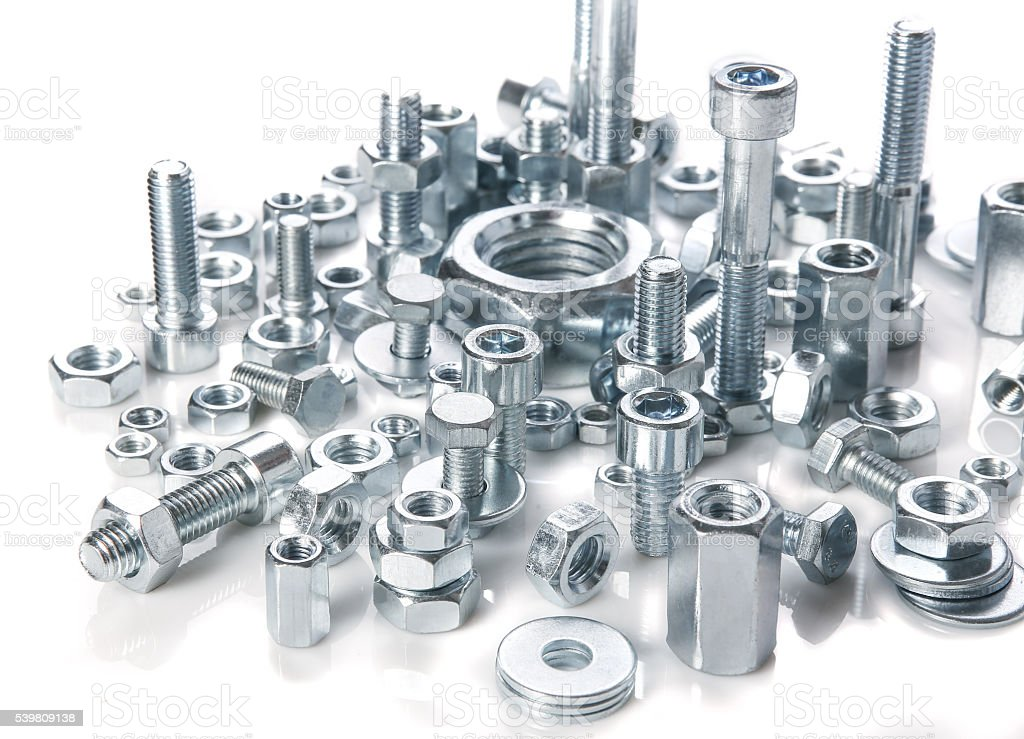 chromeplated bolts and nuts stock photo
