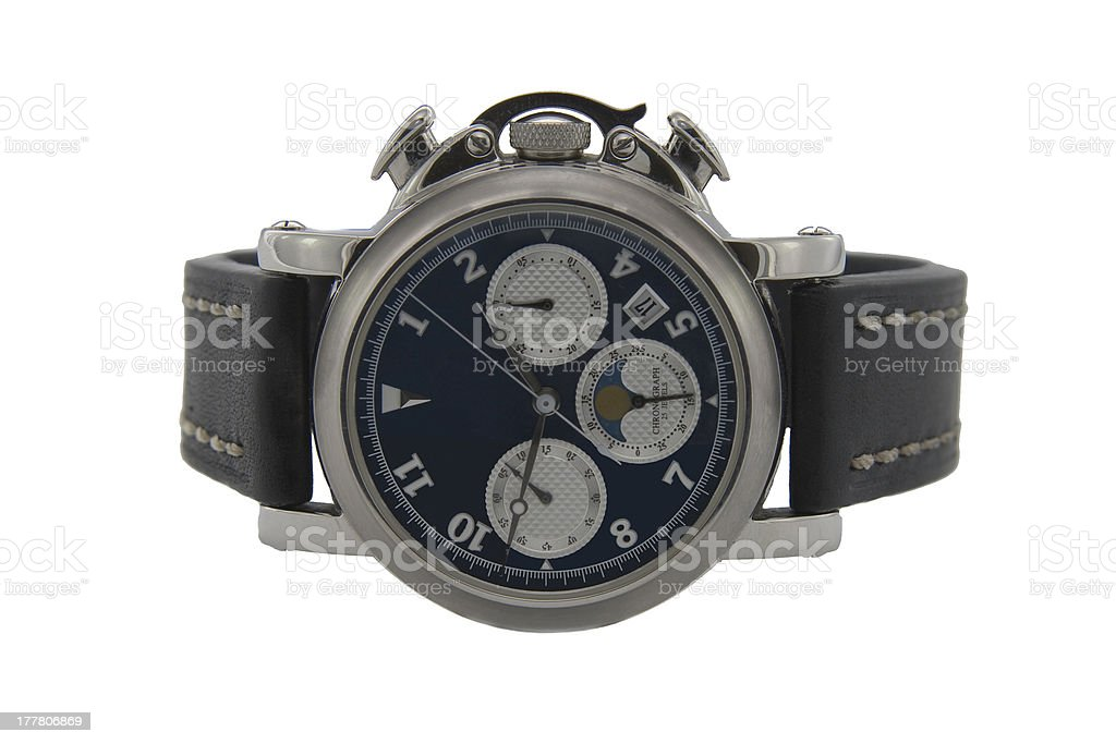 Chronograph watch in white background stock photo