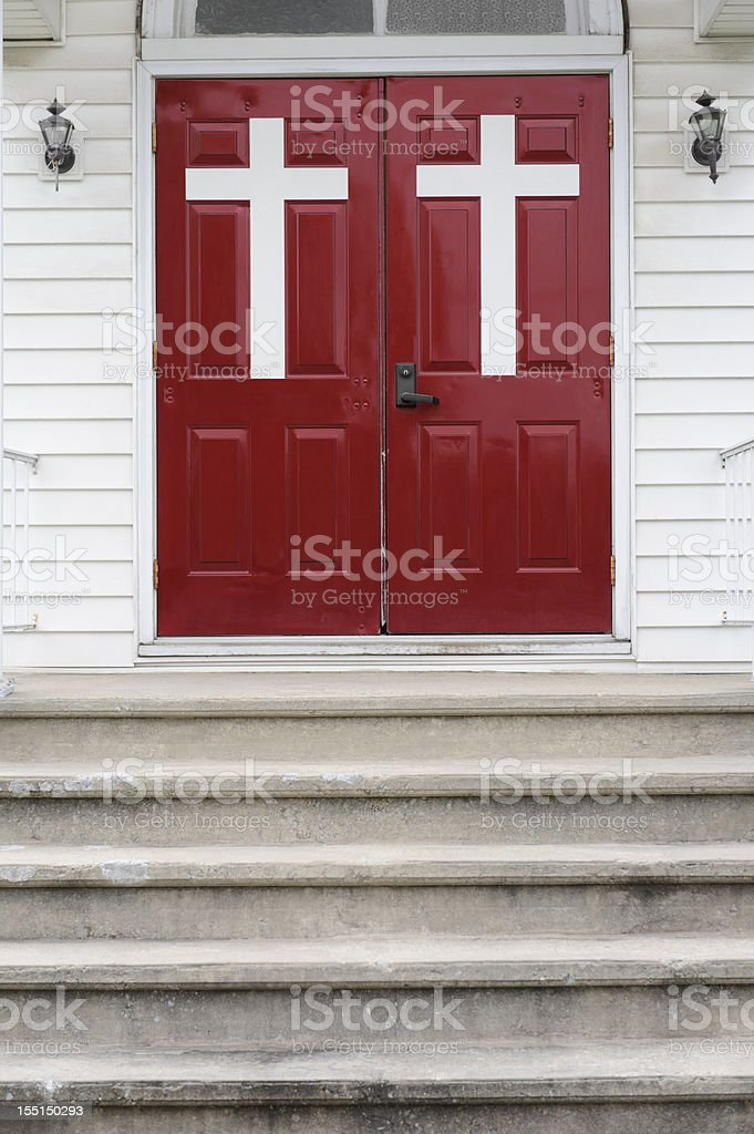 Chruch Doors with White Crosses, Steps to Entrance, Close Up stock photo