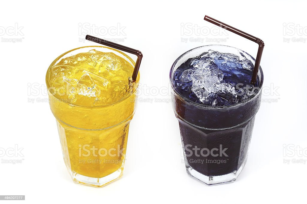 Chrysanthemum cold and Ice pigeonwings herbal drink stock photo