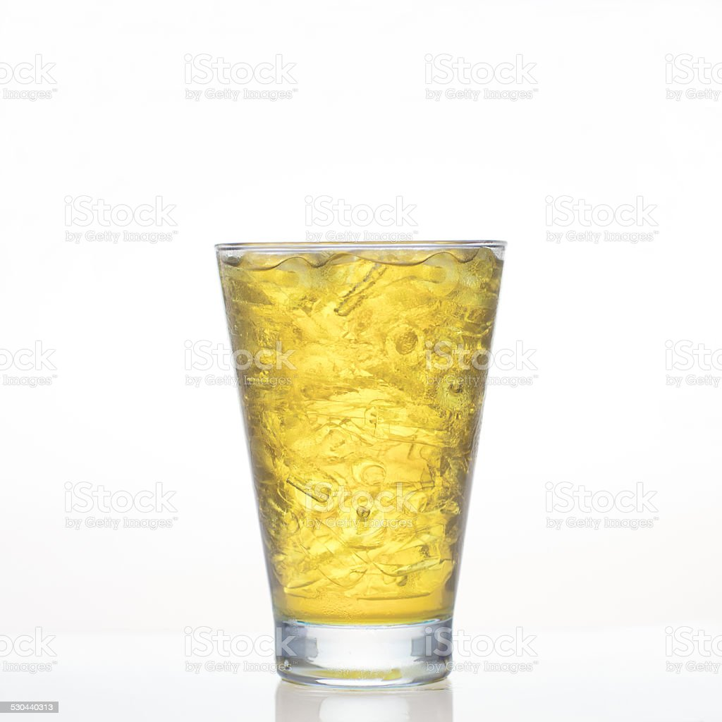 Chrysanthemum cold herbal drink in glass isolated stock photo