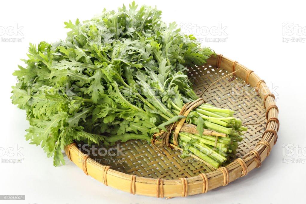Chrysanthemum greens, garland chrysanthemum, shungiku  on white background stock photo