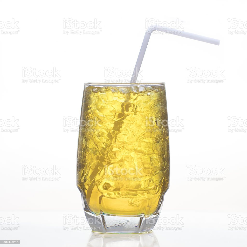 Chrysanthemum Thai herbal drink in glass isolated stock photo