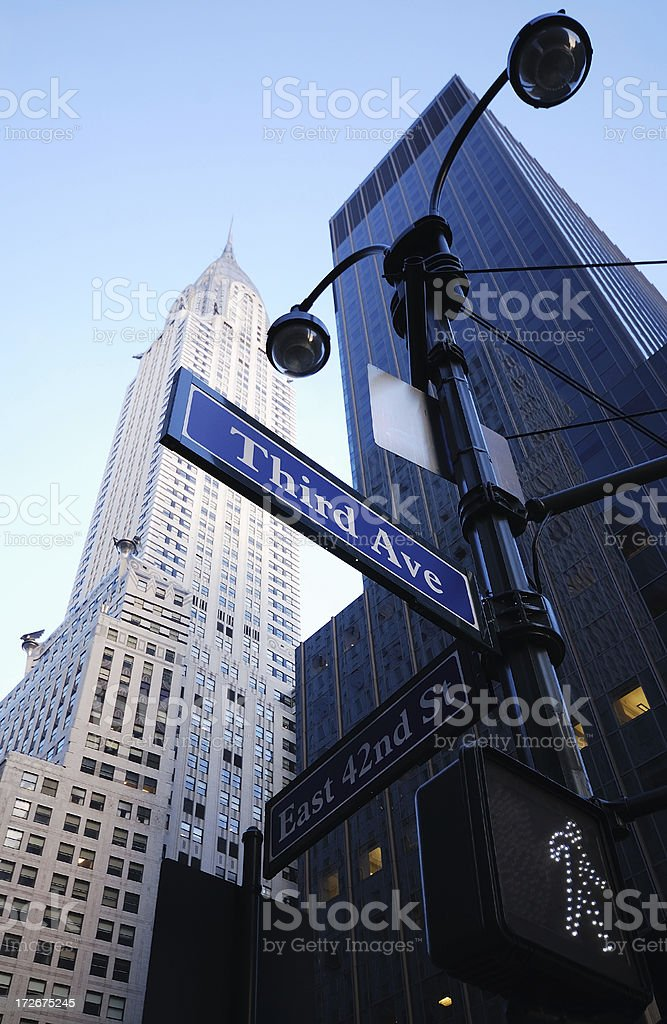 chrysler building and street signs royalty-free stock photo