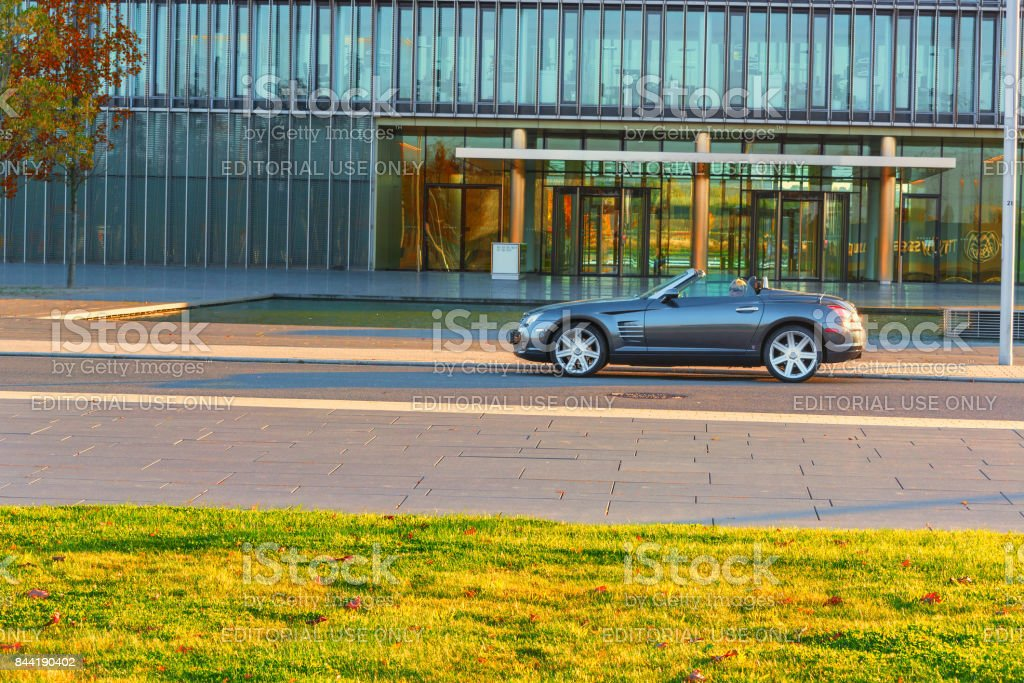 Chrysler Crossfire, before the administration building of ThyssenKrupp stock photo