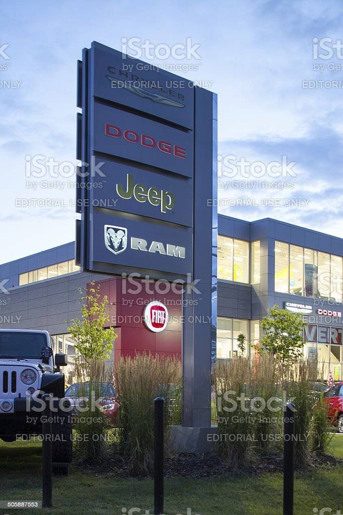 chrysler,dodge,jeep,ram dealership stock photo