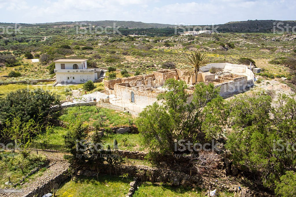 Chrysoskalitissa Monastery in Crete, Greece stock photo