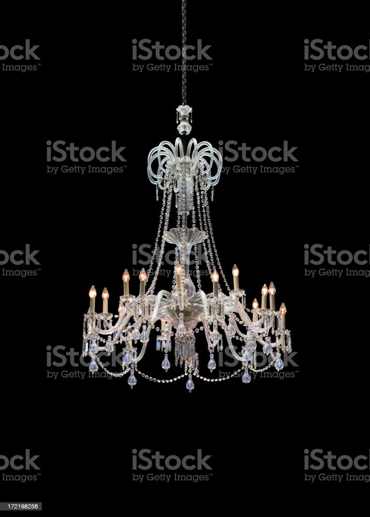 Chrystal chandelier isolated on black background stock photo