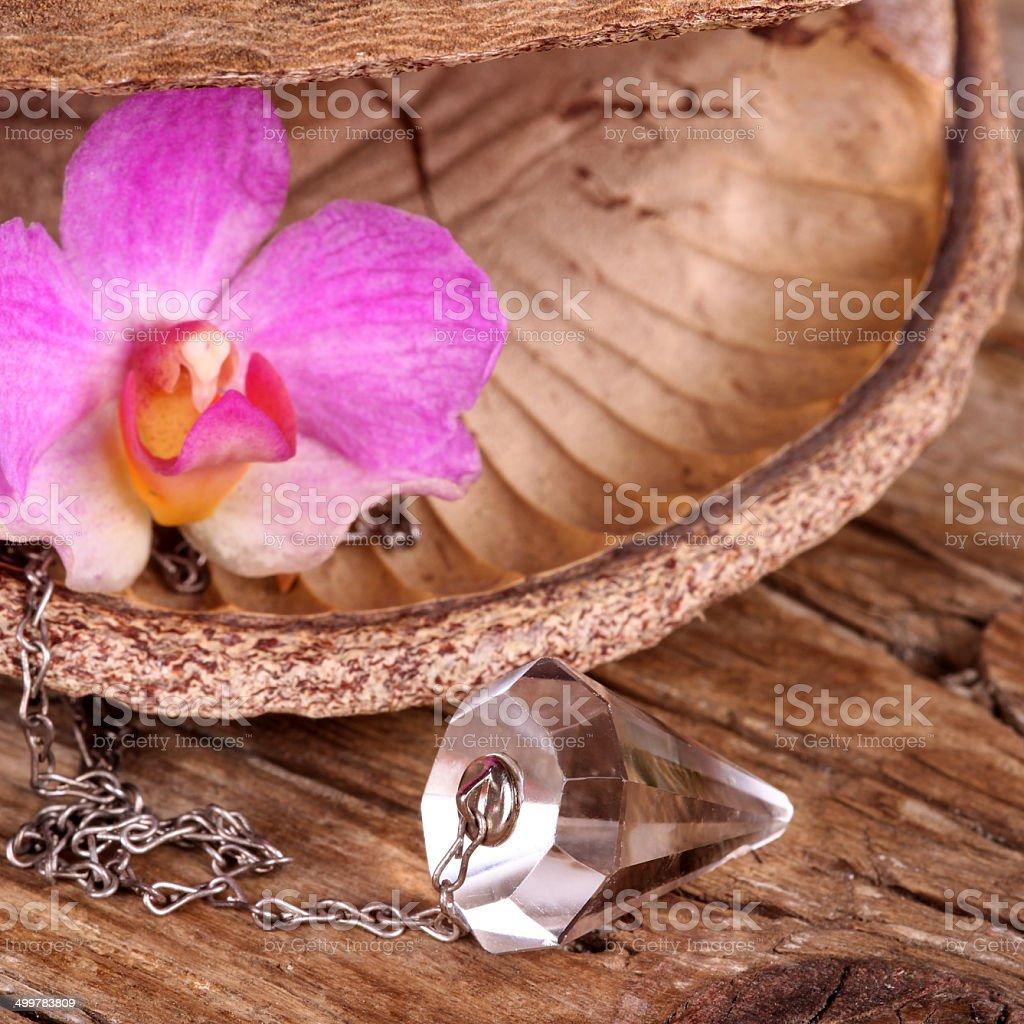 Chrystal pendulum stock photo