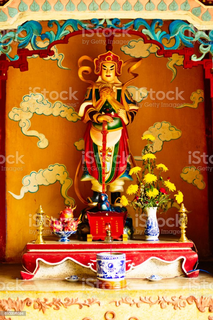 Chua Phap Bao Buddhist temple with a statue stock photo