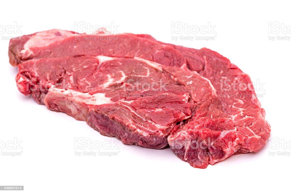 Chuck steak beef meat cut on white stock photo