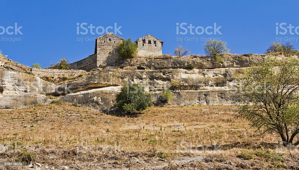 Chufut-Kale -  a medieval cave city-fortress in the Crimea. stock photo