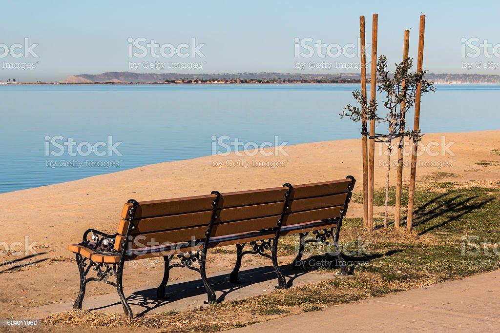 Chula Vista Bayfront Park bench with San Diego Bay stock photo