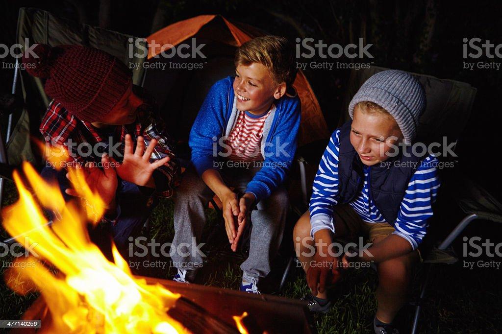 Chums around the campfire stock photo