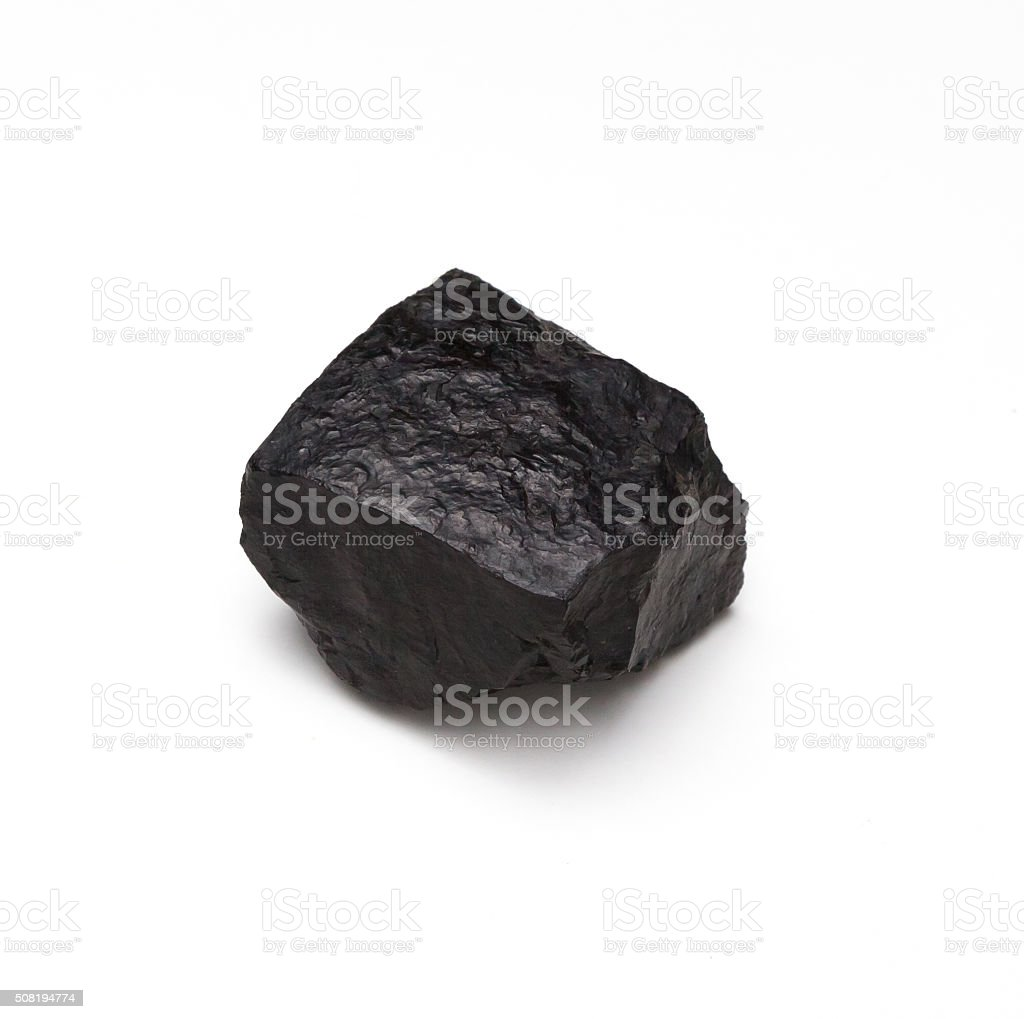 Chunk of Coal on a White Background stock photo