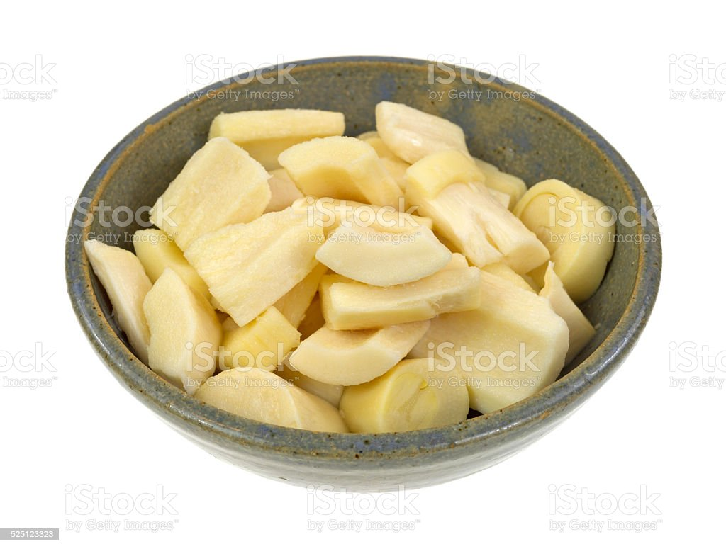 Chunks of hearts of palm in bowl stock photo